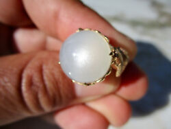 Antique 14mm White Moonstone Classical Cocktail Ring 14k Yellow Gold Size 5 1/2