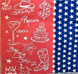 2 Individual Paper Decoupage Napkins - Western Red White And Blue Party