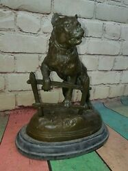 Antique Victorian Bronze Staffordshire Bull Terrier Dog Signed By Charles Valton