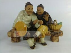 Collect Folk Chinese Ceramics Porcelain Spouse Old Couple Kuang Ornament Statue