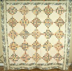 1830's Postage Stamp Antique Quilt Top Very Early Fabrics And Chintz Border