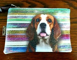 Beagle Dog Coin Purse With Handle Zipper Pouch Makeup Bag or Etc Vegan Leather