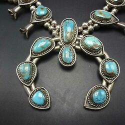 Classic Vintage Navajo Sterling Silver Turquoise Squash Blossom Necklace 233g