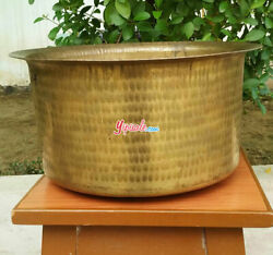 Hand Hammered Pure Brass Tope Cooking Pot Patila Peetal Bhagona 20 L With Lid