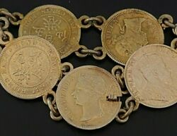 Antique Oriental Hong Kong Silver 5 Cent Gold Washed Coin Bracelet