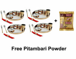 Copper Hammered Dinner Set Bhojan Thali Plate Bowl Set With Cutlery Napkin Rings