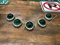 5 Nos Green Lens King Bee Vintage Diamond T Truck Cab Marker Clearance Light Old