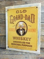 Old Granddad Bourbon Whiskey Ad Reproduction Metal Sign Reclaimed Wood Frame
