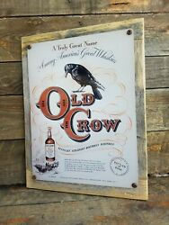 Old Crow Bourbon Whiskey Vintage Ad Reproduction Metal Sign Reclaimed Wood Frame