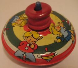 Old 1950s Ohio Art Wind Up Toy Spinning Top W/ Children Playing With Tops