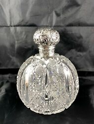 1890 London Brockwell Sterling Silver Repousseandcut Glass Large Cologne Bottle