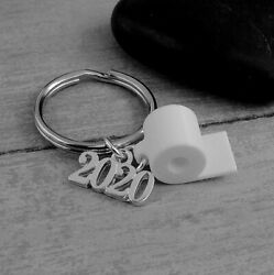 Silver 2020 Toilet Paper Key Ring - Class of 2020 Keychain - Funny Grad Gift NEW $12.95