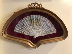 """Antique French Handpainted Fan  Circa 1900signed """"C.Blondin"""" In Shadow Box $380.00"""