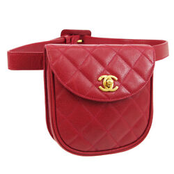 Quilted Cc Waist Bum Bag 4238105 Purse Red Caviar Skin Leather 02077