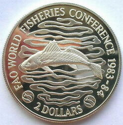 Liberia 1983 Fao Fisheries Conference 2 Dollars Piedfort Silver Coin,proof