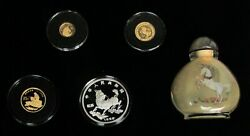1996 Gold And Silver China Proof Unicorn 5 Piece Boxed Set With Coaand039s