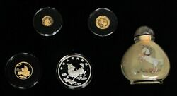1996 Gold And Silver China Proof Unicorn 5 Piece Boxed Set With Coa's