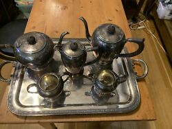 Vintage Rogers Bros  Silver Plate Tea Service Butlers Tray Coffee