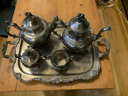 Vintage Silver Plate Tea Service Butlers Tray Coffee