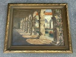 Early 20th C. California San Juan Capistrano Mission Oil Painting On Canvas