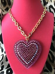 Luly Lu Figment Vintage Huge Fuchsia Pink Ab Lucite Heart Necklace