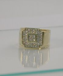 Heavy Hansom Menand039s 14k Square Cut Cluster Diamond Ring Size 11.5 25.8 Grams