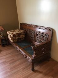 Antique Hand Carved Couch Chairs End Tables And Coffee Table With Marble