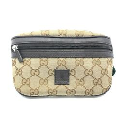 GUCCI Sherry line Waist pouch Kids Hip bag Beige x Brown GGCanvas 311159