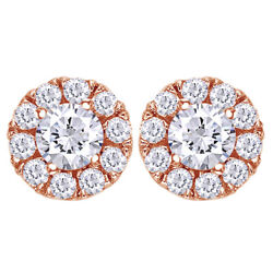 1/2 Cttw Round Diamond Halo Stud Earrings In 14k Rose Gold