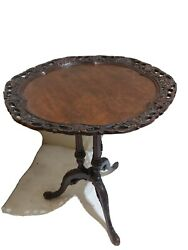 Beautiful Queen Anne Style Carved Mahogany Brand Pie Crust Round Side End Table