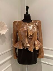 Alexander Mcqueen Womenand039s Gold Zip Wave Ruffle Leather Jacket - Size 6 Or 42 It