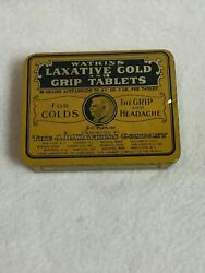 Vintage J.r. Watkins Laxative Cold And Grip Tablets Tin For Display