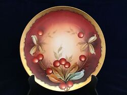Antique Plate Haviland France Hand Painted By W. A. Pickard - Cherry