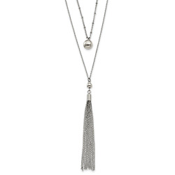 Lex And Lu Stainless Steel Polished 2 Strand W/2 Ext 24 Necklace