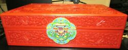 Chinese Village Carved Cinnabar Lacquer Cloisonne Enamel Jewelry Trunk Box