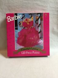 Vintage Barbie Jigsaw Puzzle-120 Pieces-1990 Doll In Pink Gown - Unopened/sealed