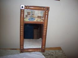 Antique Collectible Wall Mirror Solid Wood Frame Great Picture 3 Mountaineers