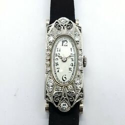 Vintage Art Deco Frey And Co Certified 17 Jewel Platinum And Diamond Watch
