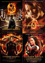Lot Of 4 Posters Folded 47 3/16x63in Hunger Games 2012.2014 Jennifer Lawrence