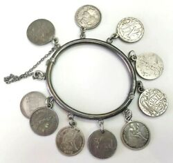 Victorian Silver Hinged Womenand039s Bangle Us Liberty Dimes Engraved 10 Love Tokens
