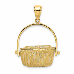 Lex And Lu 14k Yellow Gold 3d Nantucket Basket W/moveable Lid Charm