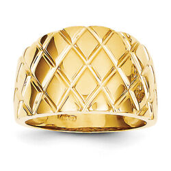 14k Yellow Gold Marquise Pattern Dome Ring K4643 Size 7