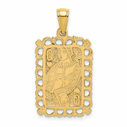 Lex And Lu 14k Yellow Gold 2d Queen Playing Card Charm