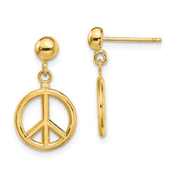 Lex And Lu 14k Yellow Gold 3d And Polished Peace Symbol Dangle Earrings