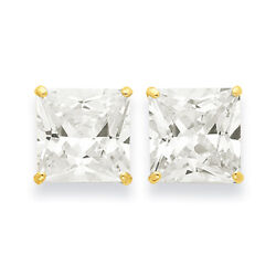 14k Yellow Gold 12mm Square Cz Post Earrings Xd45cz