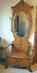 Antique Oak Hall Tree ~ Beveled Oval Mirror ~ Bench Storage Seat - Early 1900's