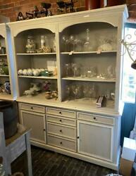 Large Solid Wood Bookcase / Display Cabinet Unit - Painted Vintage Grey And White