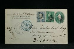 Wisconsin Westfield 1889 Uprated 2c Entire Cover To Germany