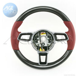 Oem Porsche 991.2 Cayman 718 Boxster Carbon Bordeaux Red Leather Steering Wheel