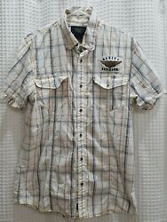 Harley Davidson Short Sleeve Button Front Plaid Shirt Mens Large With Patches